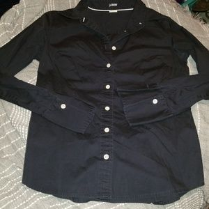 J CREW navy blue button up long sleeves